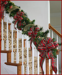 christmas ribbon holiday ribbon bows velvet plaid sheer - Christmas Decorations For Stairs Banisters