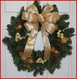 holiday ribbon and bows gold, satin, silk & metallic
