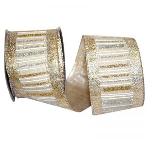 Gold and Silver Glitter Stripe Ribbon