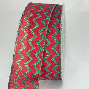RED/GREEN Sparkle Chevron Ribbon