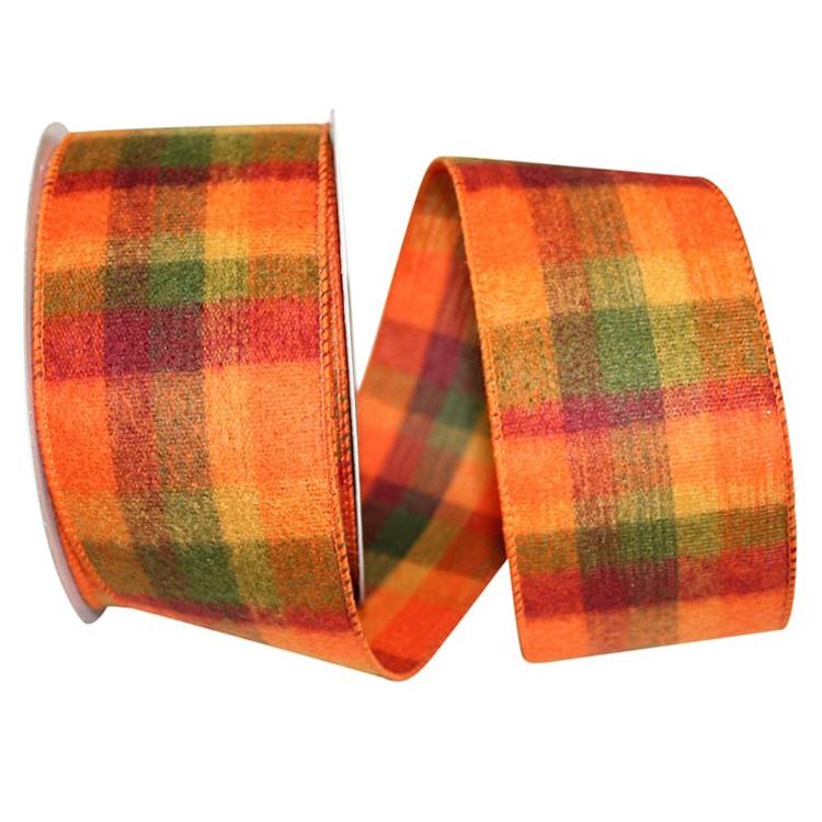 10-Yard Orange//Green 2-1//2-Inch Flannel Plaid Wired Ribbon