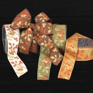 Wired Taffeta Leaves Ribbon