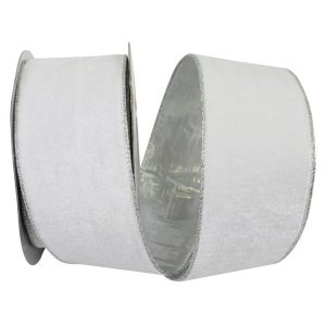 Plush Silver Metallic Back Velvet Ribbon Wire Edge