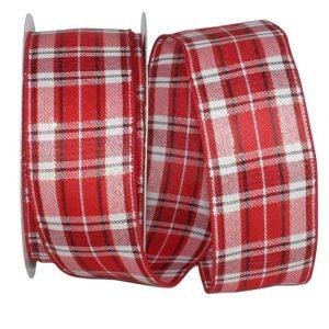 RED & WHITE PLAID TWILL RIBBON