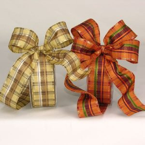 Wire Edge Plaid Stripe Ribbon