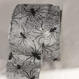 Silver Wired Spider in Web Ribbon