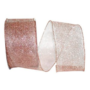 Rose Gold Micro Mesh Ribbon Wire Edge