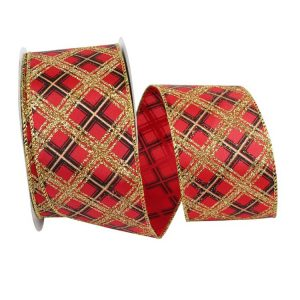 RED AND BLACK GLITTER DIAGONAL PLAID BUFFALO WIRED EDGE