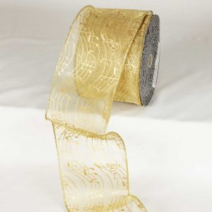 GOLD SHEER WAVY RIBBON WIRE EDGE