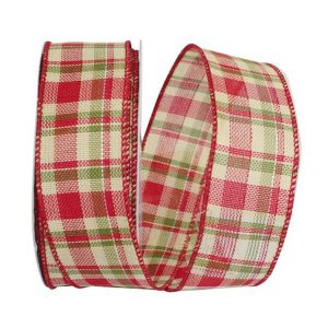 Cranberry Moss Plaid Hopsack Ribbon Wire Edge