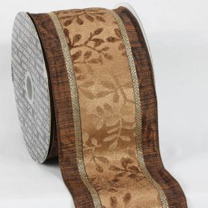 BrownTaffeta Wired Edged Velvet Leaves Ribbon