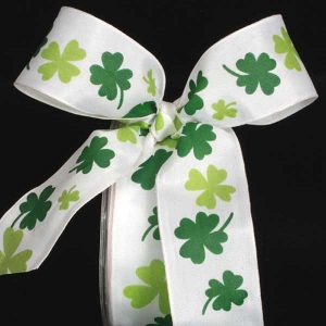 Wire Edge Green Shamrock Ribbon