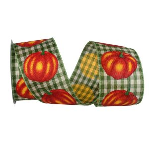 Pumpkin Gingham Ribbon Wire Edge