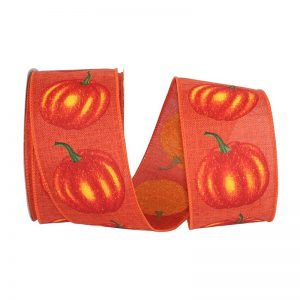 Pumpkin Linen Ribbon Wire Edge