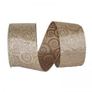 Champagne Swirl Glitter Taffeta Ribbon Wire Edge