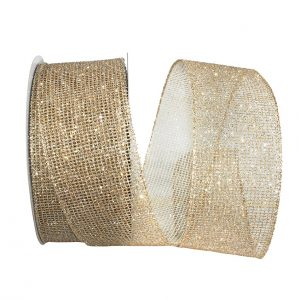 Glitter Web Mesh Metallic Ribbon Wire Edge
