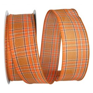 Orange Plaid Tonal Value Ribbon Wire Edge