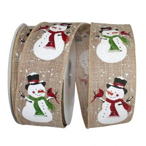 Glitter Snowmen with Cardinal Linen Ribbon Wire Edge