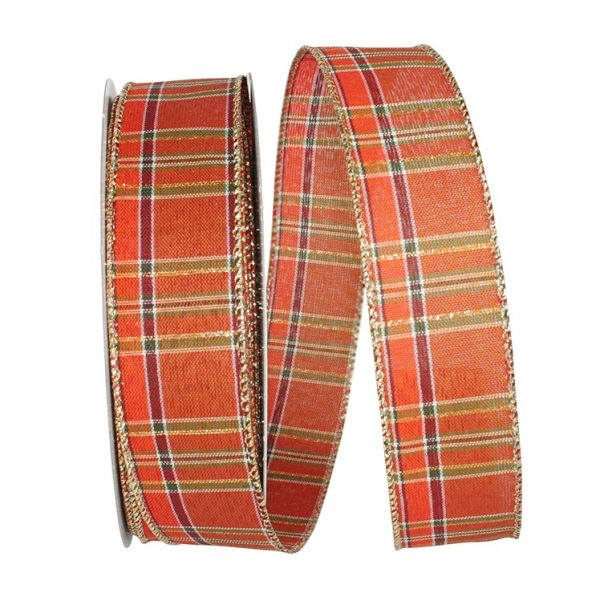 Orange Plaid Tonal Metallic Stripes Ribbon Wire Edge