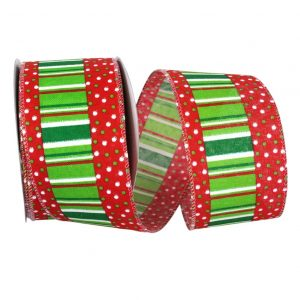 Festive Ticking with Dots Ribbon Wire Edge