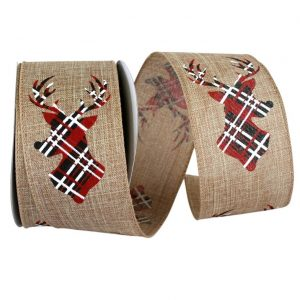 Deer Antler Plaid Linen Ribbon Wire Edge
