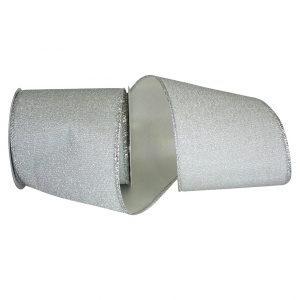 Sparkle Silver Satin Back Ribbon Wire Edge