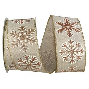Snowflake Glitter Outline Muslin Ribbon Wire Edge