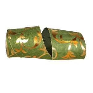 Golden Silhouette Linen Ribbon Wired