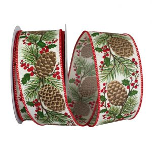 Pinecone Berry Sprig Linen Ribbon Wire Edge