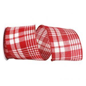 RED AND WHITE TWILL PLAID
