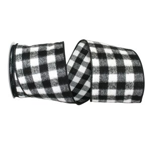 Black and White Gingham Check Flannel Ribbon