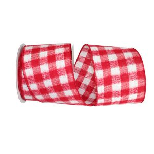 WHITE & RED GINGHAM CHECK FLANNEL WIRED EDGE