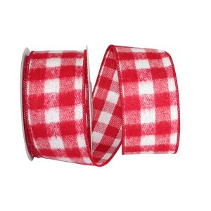 RED AND WHITE BRUSHED GINGHAM CHECK FLANNEL WIRED EDGE