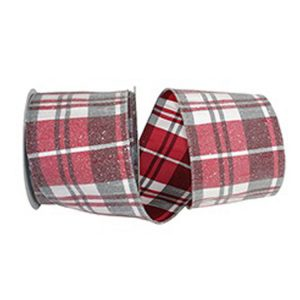 Frosted Grand Plaid Ribbon Wire Edge