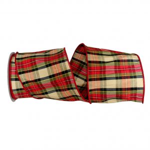 Holiday Tradition Dupioni Plaid Ribbon Wire Edge