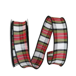 HOLIDAY TRADITION DUPIONI PLAID WIRED EDGE