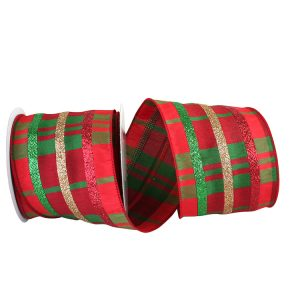 Dupioni Plaid Classic Glitter Stripe Ribbon Wire Edge