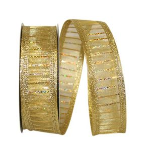 Mesh Holo Stripe Metallic Ribbon Wire Edge