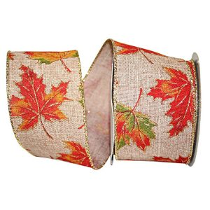 Autumn Leaves Linen Gold Ribbon Wire Edge