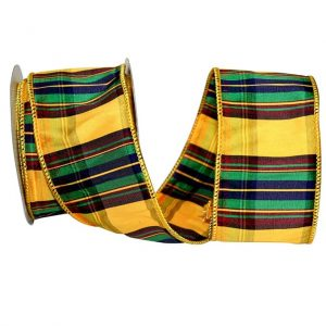Plaid Elizabeth Dupioni Ribbon Wire Edge
