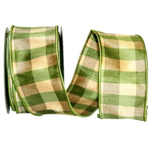GREEN CHECK SILK WIRED EDGE