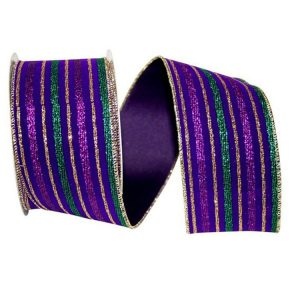 Velvet Stripe Mardi Gras Ribbon Wire Edge
