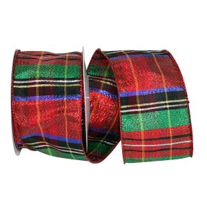 Plaid Lame Metallic Jewel Ribbon