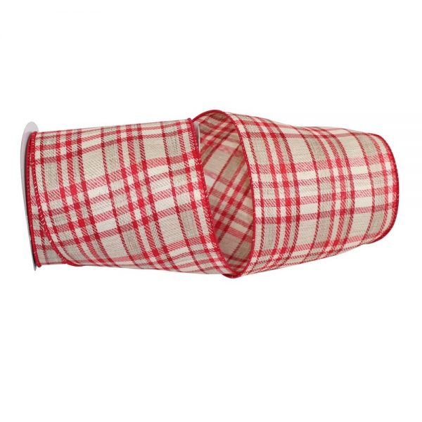 TAUPE TWILL HOLIDAY PLAID VALUE WIRED EDGE