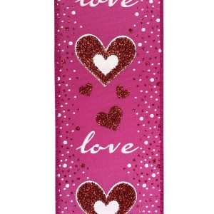 Love Glitter Hearts Ribbon Wire Edge Swatch