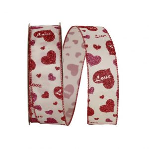 CANDY LOVE HEART GLITTER RIBBON