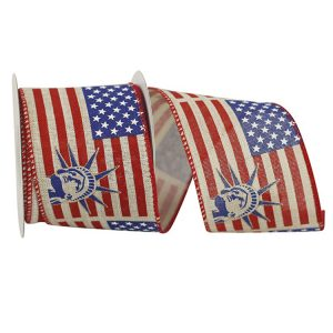 LADY LIBERTY AND FLAG NATURAL LINEN