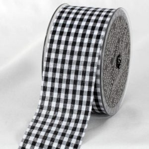 BLACK AND WHITE Cut Edge Gingham Ribbon