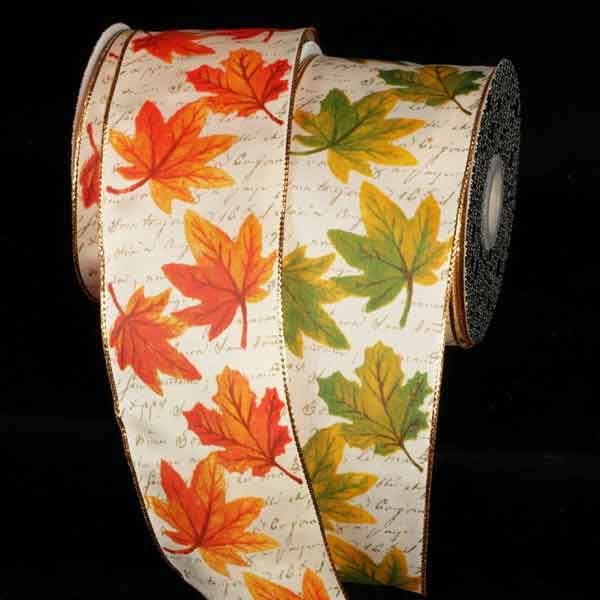Gold Wire Edge Leaves Ribbon