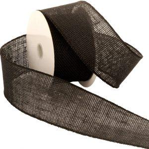 """2 1/2"""" black burlap ribbon"""